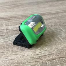 """Фонарик COB на голову зелёный пластик """"LEMANSO"""" LMF46"""