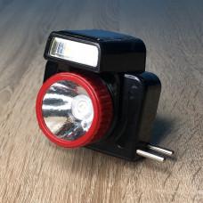 Фонарик налобный 1LED/6LED ( черный ) аккумулятор, сеть 220V и солн. батарея ULTRA SVET LP-529