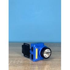 Фонарик налобный 1LED/8LED ( синий ) аккумулятор, зарядка от сети 220V ULTRA SVET LP-307