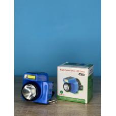 Фонарик налобный 1LED/6LED ( синий ) аккумулятор, сеть 220V и солн. батарея ULTRA SVET LP-529