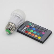 "Лампа светодиодная E27 RGB 3W 210LM с пультом 85-265V (48*65mm) ""LEMANSO"" LM736"