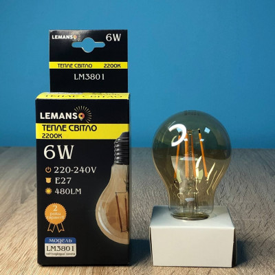 "Декоративная лампа Эдисона 6W A60 E27 480LM 2200K ""LEMANSO"" LM3801"