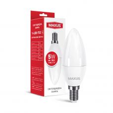 Лампа светодиодная C37 5W 4100K 220V E14 свеча MAXUS 1-LED-732