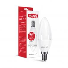 Лампа светодиодная C37 7W 4100K 220V E14 свеча MAXUS 1-LED-734
