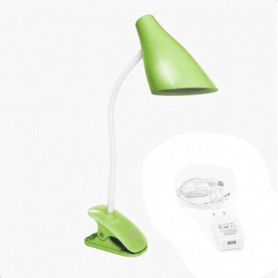 """Настольная лампа Lemanso 5W 320LM прищепка, 4 уровня регулировки зеленая """"LEMANSO"""" LMN090"""
