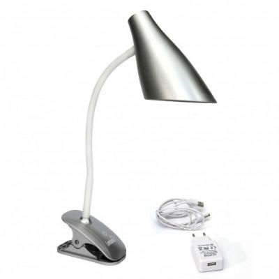"Настольная лампа Lemanso 5W 320LM прищепка, 4 уровня регулировки серебро ""LEMANSO"" LMN090"