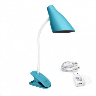 """Настольная лампа Lemanso 5W 320LM прищепка, 4 уровня регулировки синяя """"LEMANSO"""" LMN090"""