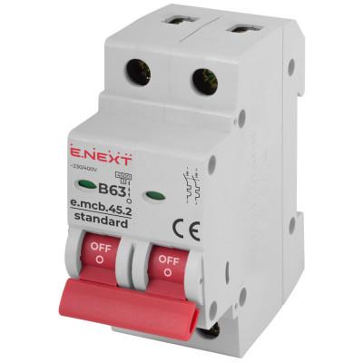 """Модульний автоматичний вимикач e.mcb.stand.45.2.B63, 2р, 63А, В, 4,5 кА """"E.NEXT"""" s001023"""