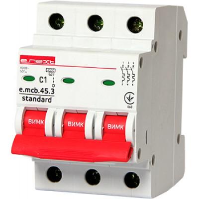 """Автоматический выключатель e.mcb.stand.45.3.C32, 3р, 32А, C, 4,5 кА """"E.NEXT"""" s002034"""