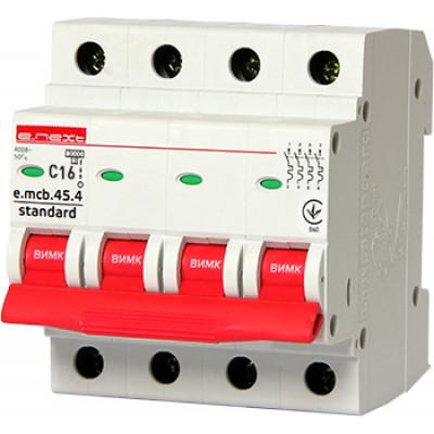 """Автоматический выключатель e.mcb.stand.45.4.C63, 4р, 63А, C, 4,5 кА """"E.NEXT"""" s002053"""