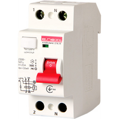 "Выключатель дифференциального тока e.rccb.stand.2.40.30 2р, 40А, 30mA ""E.NEXT"" s034002"