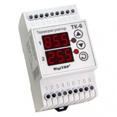 """Терморегулятор ТК-6 (двухканальный, датчик DS18B20) DIN """"DigiTOP"""""""