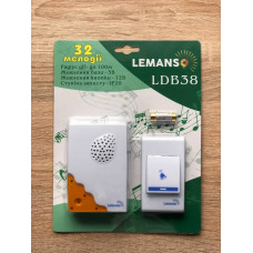 """Звонок беспроводной на батарейках 12V """"LEMANSO"""" белый с оранжевым LDB38"""
