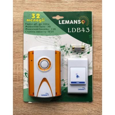 """Звонок беспроводной на батарейках 12V """"LEMANSO"""" белый с оранжевым LDB43"""