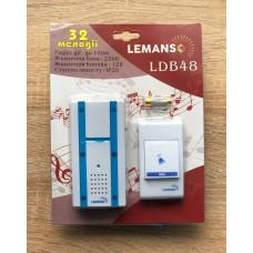 """Звонок беспроводной в розетку 230V """"LEMANSO"""" белый с синим LDB48"""