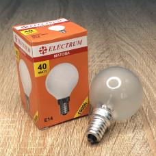 Лампа ELECTRUM шар 40W E14 матовая A-IB-0037