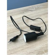 """Подвес силиконовый E27 + выключатель + вилка, чёрный 3м для LED ламп """"LEMANSO"""" LMA075"""