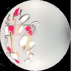 """Светильник круглый Д250 НПБ 01-60 """"Абстракция -2"""" розовая на белом (мат.) арт. 37069"""